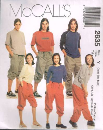 *2635 Sewing Pattern McCall's Unisex Easy Fitting Roll up Pants XS S M