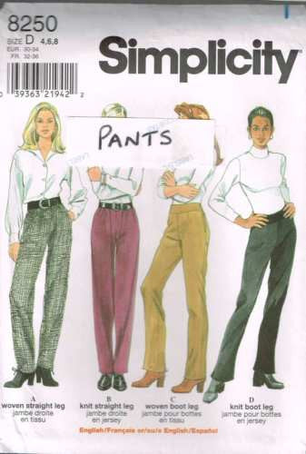 8250 Sewing Pattern Simplicity Ladies Pants 4 6 8