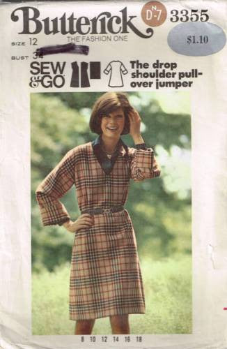 3355 Pattern Vintage Butterick Ladies Drop Shoulder Pullover Jumper 12 Bust 34""