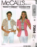 7384 Sewing Pattern Vintage McCall's Ladies Blazer Jacket for Stretch Knits 12