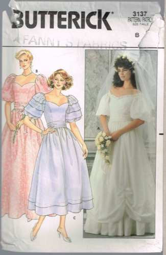 *3137 Sewing Pattern Butterick Ladies Sweetheart Neckline Puff Sleeve Wedding 8