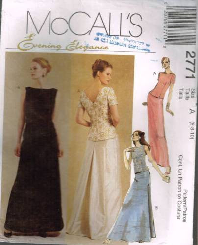 *2771 Sewing Pattern McCall's Ladies Wedding Bridal Grad Prom Top Skirt 6 8 10