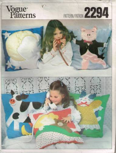 V2294 Sewing Pattern Vintage Vogue Childs Applique Pillows