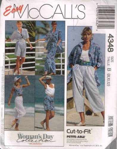 4348 Sewing Pattern McCall's Ladies Beach Outfit 8 10 12