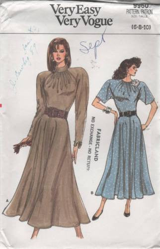 9960 Sewing Pattern Vintage Vogue Ladies Dress with Flared Skirt  6 8 10