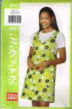 5517 Sewing Pattern Butterick Ladies Semi-Fitted A-Line Jumper XS S M