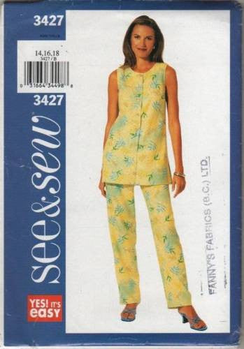3427 Sewing Pattern Butterick See & Sew Ladies Summer Tunic Pants 14 16 18