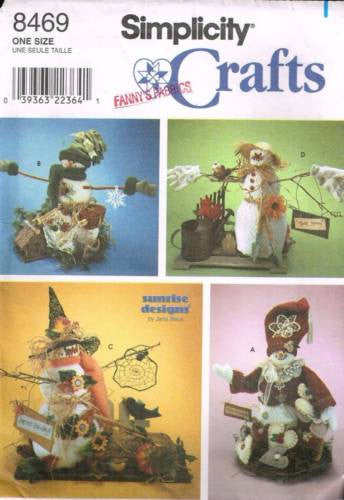 "8469 Sewing Pattern 16"" Snowman and Snowwomen Dressed as 4 Seasons"