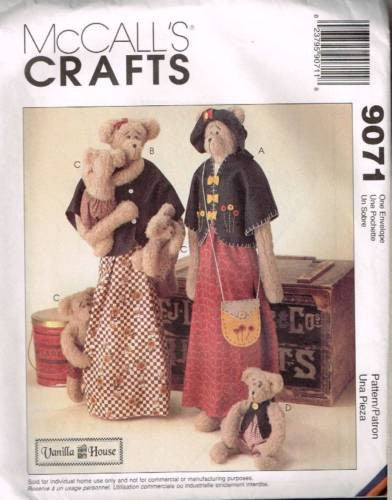"616 / 9071 Sewing Pattern McCall's Vanilla House Bear 26"" 10"" Baby"