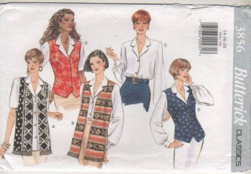 3856 Sewing Pattern Butterick Blouse with or without Mock Vest 14 16 18