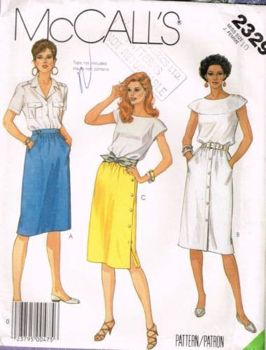 *2329 Sewing Pattern McCall's Ladies Buttoned Skirt 10