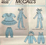 4532 / 643 Sewing Pattern McCall's Christmas Reindeer Family with Clothes