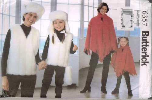 6357 Sewing Pattern Butterick Ladies & Kids Poncho Vest Hat Bag