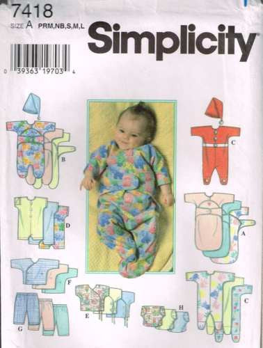7418 Sewing Pattern Baby Infant Sleeper Romper Sleep Bag Preemie NB S M L