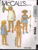 7614 Sewing Pattern Vintage McCall's Girls Bikini Cover-up Top Shorts 3