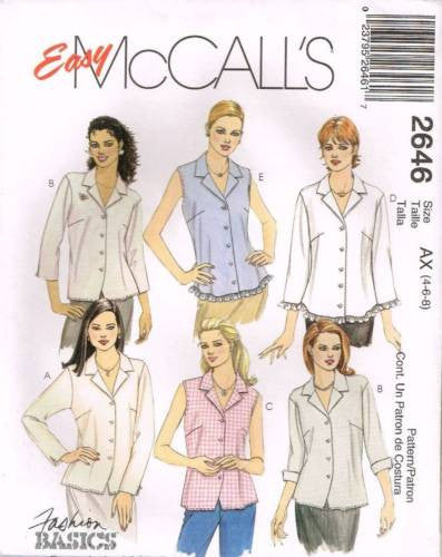 *2646 *Sewing Pattern McCall's Ladies Blouse with Darts 4 6 8