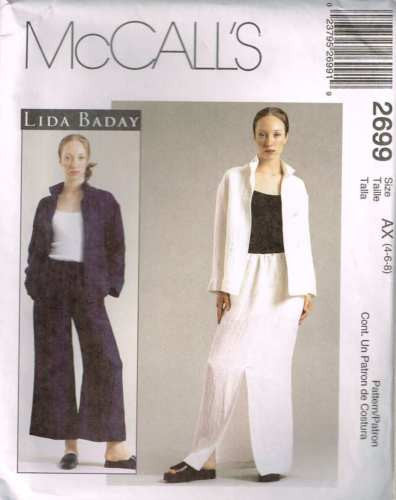 *2699 Sewing Pattern McCall's by LIDA BADAY Loose Pants Skirt Jacket 4 6 8