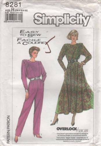 8281 Sewing Pattern Vintage Ladies Dress and Jumpsuit w/ Flanges 14 16 18