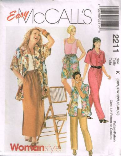 *2211 Sewing Pattern McCall's Ladies Pants Blouse Jacket Skirt Camisole 28 30 32