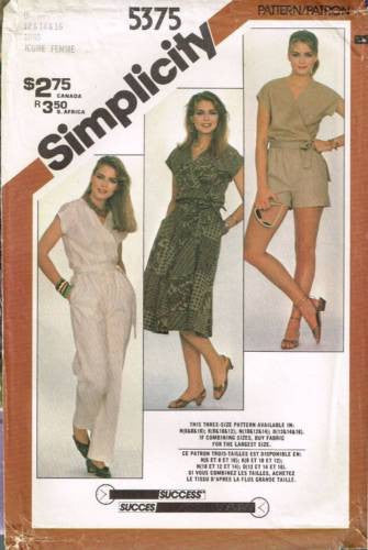 *5375 Sewing Pattern Vintage Ladies Wrap Top Pants Skirt Shorts 12 14 16
