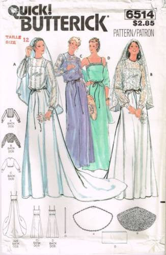 6514 Sewing Pattern Vintage Butterick Wedding Bridal Gown w/ Train 12