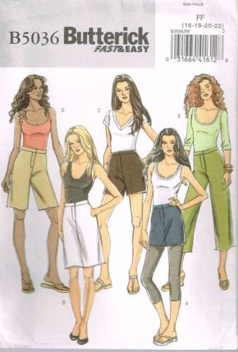 5036 Pattern Ladies Butterick Pants and Skirt Shorts w/ variations 16 18 20 22