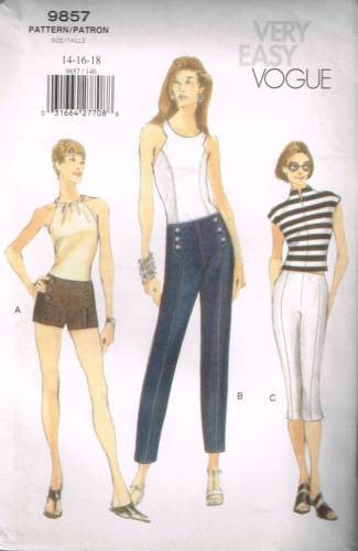 9857 Sewing Pattern Very Easy Vogue Ladies Pants and Shorts 12 14 16
