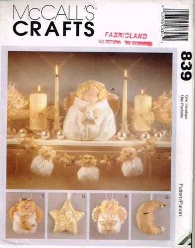*839 / 8390 Sewing Pattern McCall's Christmas Angel Angels Star Moon