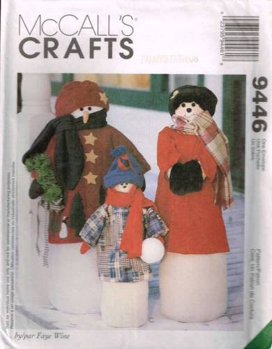 "9446 Sewing Pattern McCall's Christmas Decorations Snowman Greeters 37"" 27"" Tall"