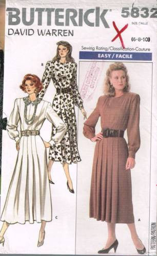 *5832 Sewing Pattern Butterick Dress with Pleated Front 6 8 10