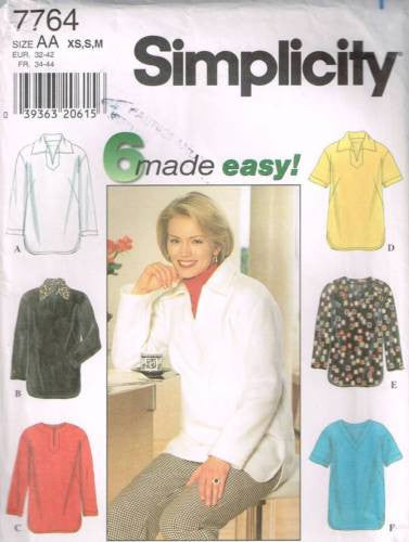 7764 Sewing Pattern Ladies Pullover Tunic Top XS S M