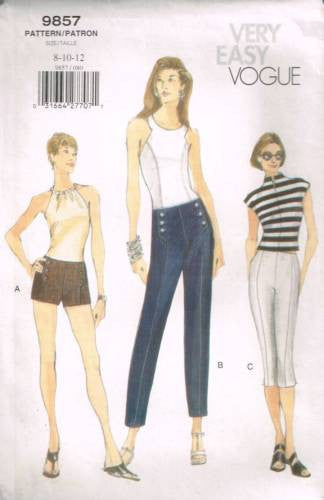 9857 Sewing Pattern Very Easy Vogue Ladies Pants and Shorts 8 10 12