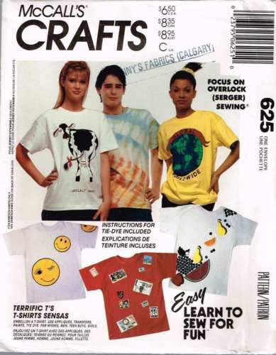 *0625 #Sewing Pattern McCall's Terrific T-Shirts plus Instructions for Tie Dye