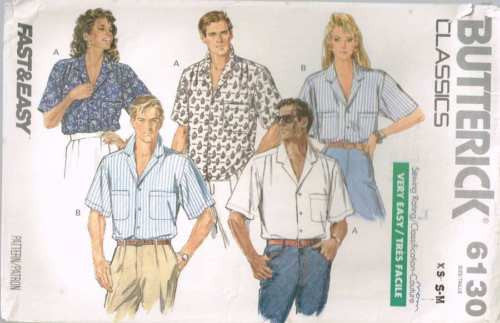 6130 Sewing Pattern Vintage Unisex Shirt XS S M