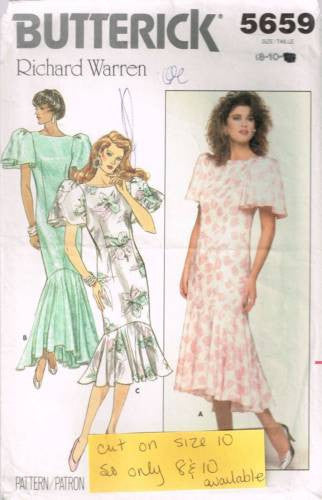 5659 Vintage Sewing Pattern Butterick Ladies Mermaid Gown Dress 8 10 *CUT