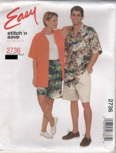 *2736 Sewing Pattern Easy McCall's Unisex Shirt and Shorts S(34-36), M(38-40)