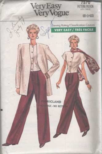 7570 Sewing Pattern Vogue Ladies Pants Top Jacket 6 8 10