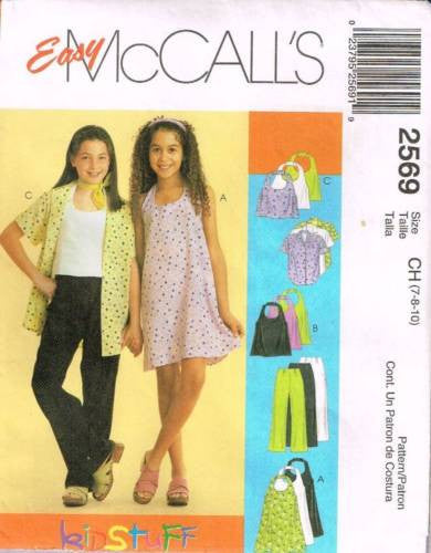 *2569 *Sewing Pattern McCall's Girls Halter Top Dress Pants Shirt 7 8 10