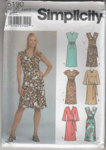 5190 Sewing Pattern Ladies Pullover Bias Dress 4 6 8 10