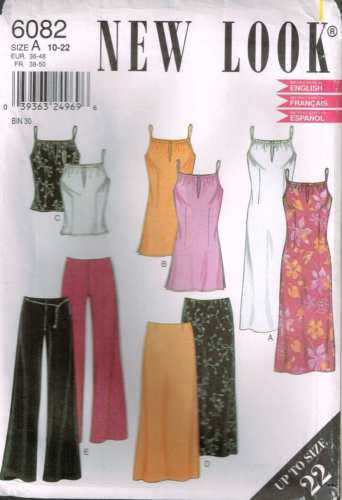 6082 Sewing Pattern New Look Ladies Dress Tunic Pants Skirt Top 10 12 14 16 18 2