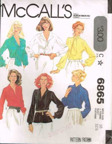 6865 Sewing Pattern Vintage Ladies Blouse with Variations 10