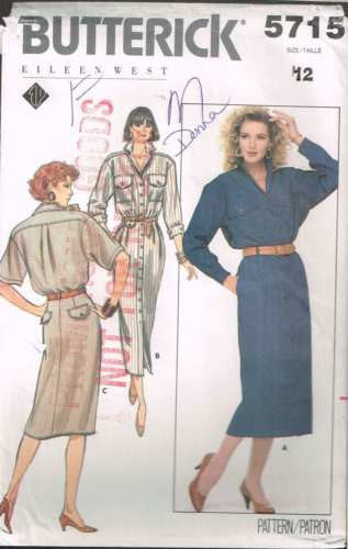 5715 Sewing Pattern Vintage Button Front Shirt Dress 12