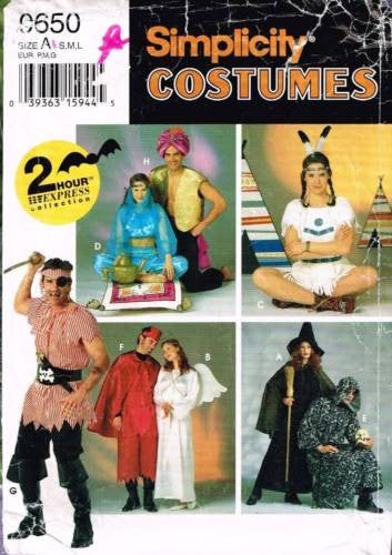 *0650 / 9169 Pattern Unisex Costume Aladin Pirate Angel Devil Witch Harem S M L
