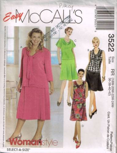 3522 Sewing Pattern McCall's Ladies Top and Skirt 18W 20W 22W 24W
