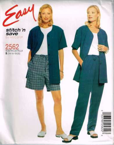 *2562 Sewing Pattern McCall's Ladies Jacket Pants Shorts 14 16 18 20