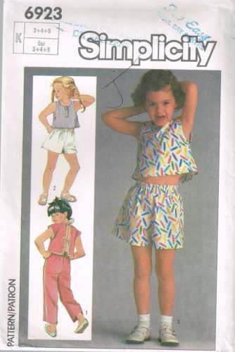 6923 Sewing Pattern Vintage Baby Toddler Infant Summer Top Pants Shorts 3 4 5
