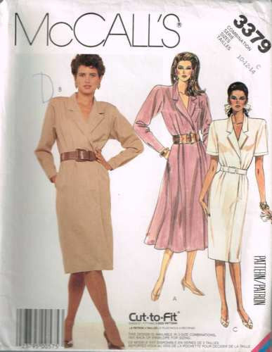 3379 Sewing Pattern Vintage McCall's Ladies Cross Over Front Dress 10 12 14