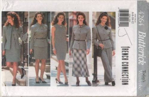 4264 Sewing Pattern Butterick French Connection Jacket Dress Skirt Pants Ladies