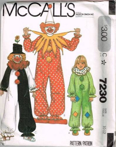 7230 Sewing Pattern Vintage McCall's Costume Kids Clown Clown 10-12