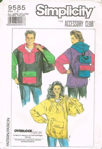 9585 Sewing Pattern Unisex Color Blocked Jacket and Backpack 30-48 Chest